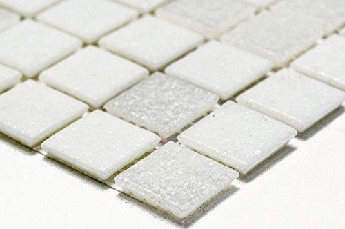 Mosaik-Netzwerk Mosaikfliese Quadrat mix weiß Glasmosaik mit Effekt Spots Fliesenspiegel, Mosaikstein Format: 20x20x4 mm, Bogengröße: 327x305 mm, 1 Bogen / Matte