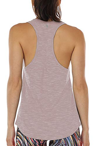 icyzone Damen Yoga Jogging Racerback Tank Top Atmungsaktive Workout Gym Shirt (L, Cameo Brown)