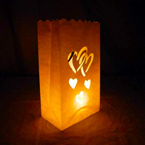 JUNGEN 12 Piezas Bolsas para Velas Bolsas de vela Diseño de corazón Linternas de Papel Bolsas para Navidad Boda Partido Decoración de Fiesta 26 x 15 cm
