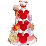 Tarta de pañales Mouse rojo para recién nacido con corazón personalizado de regalo