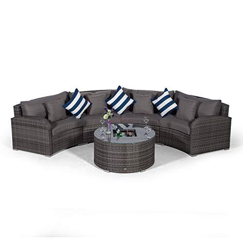 Giardino Riviera 4 Sitzer Rattan Gartenmöbel Set Grau - Halbrundes Sofa, Sofatisch mit Eiskühler und Abdeckungen - Garten Lounge Möbel Set 5-teilig