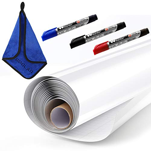 Whiteboard Sticker Paper Sheets, Easy Peel and Stick Dry Erase Contact Paper Upgrade 1.45x11ft, Self Adhesive Wall Paper Roll for Classroom, Planning, Office, Kid Painting, 3 Dry Erase Markers