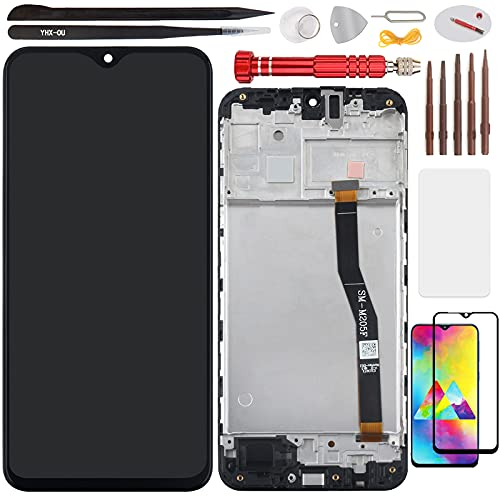 YHX-OU 6,3 pulgadas para Samsung Galaxy M20 2019 M205 M205F de reparación y sustitución LCD Pantalla táctil digitalizador con herramientas incluidas, 1 pieza de cristal templado (negro + marco).
