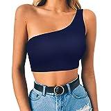 Camisetas sin Mangas de Verano para Mujer Camisas Chaleco Umbilical Hombro Oblicuo Atractivo del Color sólido de la Moda sin Mangas del Tanque Tops Chaleco Camiseta Blusa Crop Tops riou