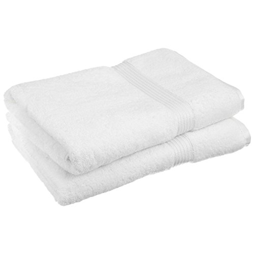 Superior 100% Egyptian Cotton Solid Bath Sheet Set, White, 2-Piece