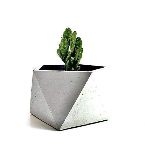 Klare Kante Planter 'Hexagon', Beton, hellgrau, H 8 cm, Ø 13 cm