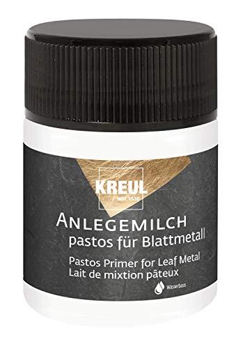 Kreul 99452 - Art Deco Anlegemilch pastos im 50 ml Glas, dickflüssiger Spezialkleber auf Wasserbasis zum Anlegen von Blattmetallen, besonders beim Vergolden mit Schablonen