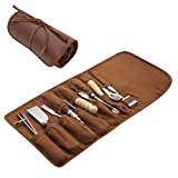 Leather Working Tools and Supplies - 11 Piece Set of Professional Leather Tools Kit, Leather Kits, Leather Burnishing Tool and Leather Awl Tool in Roll Case for Beginners and Professionals