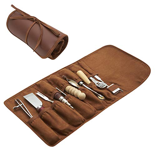 Leather Working Tools - 11 Piece Set with Skiving and Burnishing Tools, Spacing Wheels, Stitching Groover, Cutting Knife, Edge Beveler and Awl in Roll Case for Beginners and Professionals