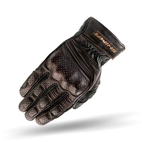 SHIMA Aviator Herren Leder Motorradhandschuhe Custom Sommer Motorrad handschuhe (S-XXL, Dunkelbraun), Größe XXL