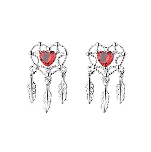 iszie jewellery sterling silver red crystal dream catcher earrings, dream catcher stud earrings