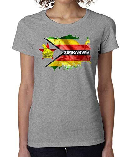 Zimbabwe Flag Country Women's T-Shirt Damen Tshirt Short Sleeve Large