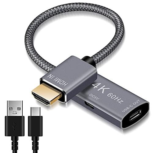 Adaptador Cable HDMI Macho a USB-C Hembra con Cable Micro USB, Convertidor Entrada HDMI a USB Tipo C 3.1 Salida, Adaptador 4K 60Hz Thunderbolt 3 para MacBook Pro,Mac Air,Microsoft Surface