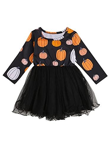 Vestido de Halloween de manga larga con diseño de calabaza y calabaza, de tul, vestido de princesa, vestido de fiesta, tutú, falda de encaje y encaje, Negro , 12-18 Meses