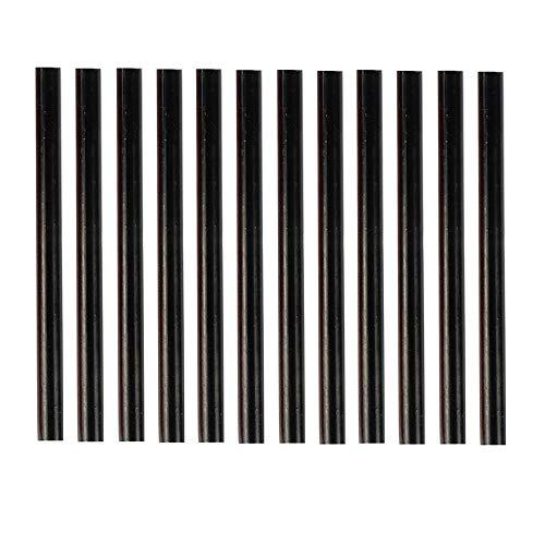 HUIHUIBAO 12 PCS Colored Hot Glue Sticks, Mini Hot Melt Adhesive Glue Stick for DIY Art Craft, 7 x 100mm, Black