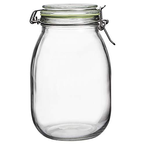 Tarro de almacenamiento de vidrio, tarro de fermentación 1,8 L, tarro hermético para conservas en decapado chucrut hecho en casa ginebra vodka harina arroz pasta azúcar dulces galletas de cereales