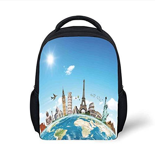 Kids School Backpack Travel,Famous Monuments of Pisa Taj Mahal Giza Pyramids Paris Landmarks Theme,Light Blue Ivory White Plain Bookbag Travel Daypack