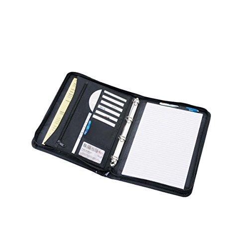 Alassio 30070 - Ringbuchmappe RONDO im DIN A4 Format, Schreibmappe aus Kunstleder, Dokumentenmappe in schwarz, Mappe ca. 34,5 x 27,5 x 4 cm