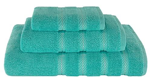 American Soft Linen 3 Piece, Turkish Cotton Premium & Luxury Towels Bathroom Sets, 1 Bath Towel 27x54 inch, 1 Hand Towel 16x28 inch & 1 Washcloth 13x13 inch Turquoise Blue