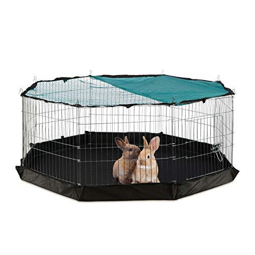 Relaxdays Freilaufgehege, Boden, Netzabdeckung, 8 Gitter, Kaninchen, Meerschweinchen, Gehege HBT 60x150x150 cm, silber