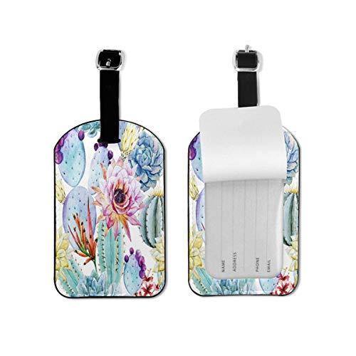 Etiqueta de equipaje de acuarela Patrón de cactus Flores espinosas etiqueta de identificación de viaje cuero para maleta de equipaje para mujeres y hombres 1 pieza