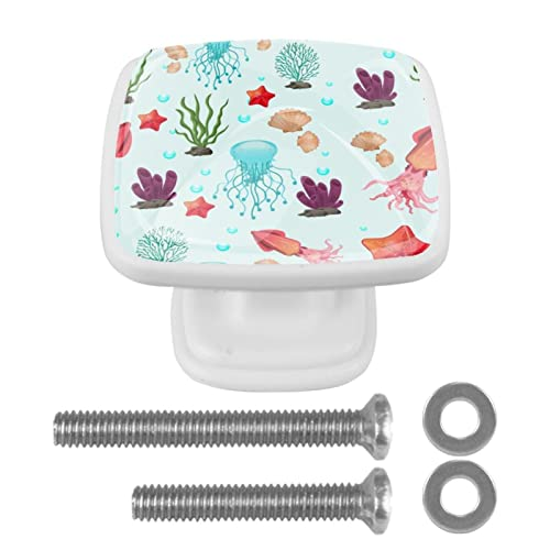 Perillas de especies marinas para cajones de tocador de cristal con mango de gabinete de cristal para el hogar, oficina, dormitorio, sala de estar, baño con tornillos, paquete de 4