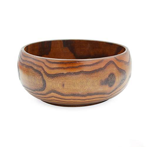ZH Bol en bois japonais, grain de bois jujube naturel adulte enfant pasta bol à soupe brun