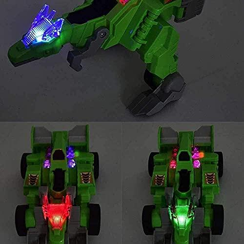Deformación de Dinosaurios Robot Juguete eléctrico Rueda Universal Deformación de Dinosaurios Robot Chariot Manual Deformación de Dinosaurios y Coches Combo Juguete Divertido para la