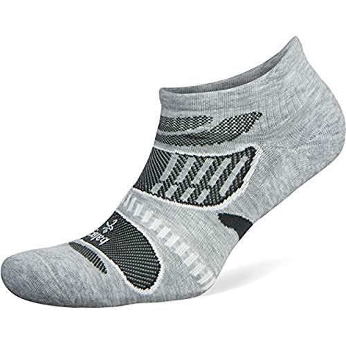 Balega Ultralight No Show Athletic Running Socks for Men and Women, Grey/White, Small