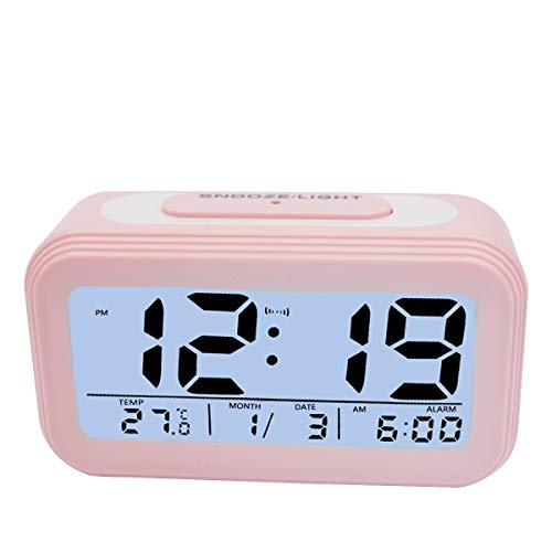 KidsPark Wecker Digital, Digitaler Wecker LED Kinderwecker mit Datum Temperatur Anzeige Batterie Digitalwecker Reisewecker mit Snooze und Nachtlicht Funktion, Rosa