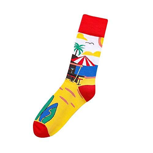 TIGERROSA katoenen sokken heren damesmode katoen ademende sokken casual comfortabele middenlange sokken print super zachte unisex lange sokken stijl F