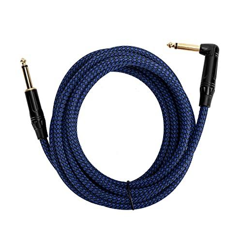 Cable de amplificador de guitarra, cable de instrumento musical macho de 6,35 mm Cable de audio de audio de ángulo recto de 1/4 pulgada para guitarra eléctrica,bajo,amplificador,etc.(JD6218)