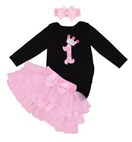BabyPreg Primera Manga Larga tutú del cumpleaños del Equipo del Vestido de la Venda del bebé