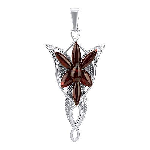 SILVEGO AAJP9E13 - Colgante para Mujer de Plata 925 Estrella de la Tarde de Arwen con Ámbar Real