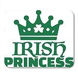 Luancrop Alfombrillas para ratón Celebración Paddy Princesa Irlandesa Trébol Verde Cerveza Corona Celta Alfombrilla para portátiles, computadoras de Escritorio esteras Suministros de Ofici