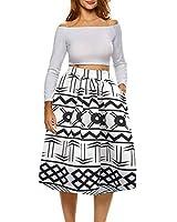 Afibi Womens African Print Skirt Boho Flare Pleated Midi Skirt with Pockets (XXX-Large, Pattern 8)