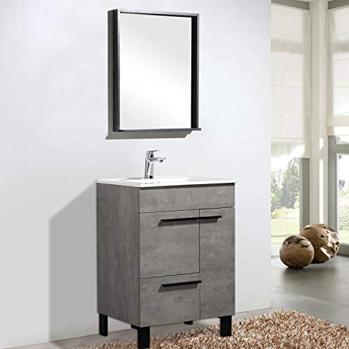 """TONA 24"""" Bathroom Vanity with Sink Combo Glossy White Modern Design Bathroom Vanities Set with Double doors & One drawer and Integrated Basin - GILL 24"""