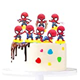 Spiderman Cake Topper - 8pcs Mini Modelo de Spiderman Decoración para Tartas, Baby Shower Fiesta de cumpleaños Pastel Decoración Suministros