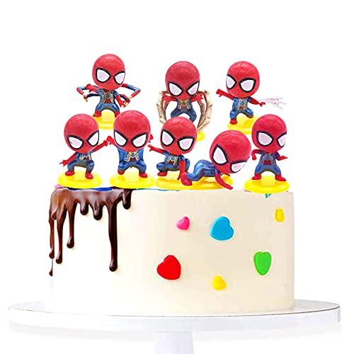 Spiderman Cake Topper - 8pcs Mini Modelo de Spiderman Decoración para Tartas, Baby Shower Fiesta de...