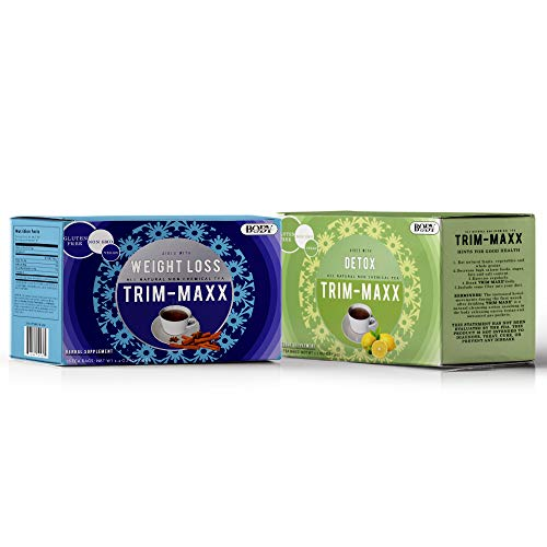 Trim Maxx Weight Loss Tea - Herbal Weight Loss and Detox Tea For Natural Constipation, Made with Senna Leaves, NON-GMO, Caffeine Free, Gluten-Free - Cinnamon Stick and Lemon Flavor (2 Pack- 32 Bags)