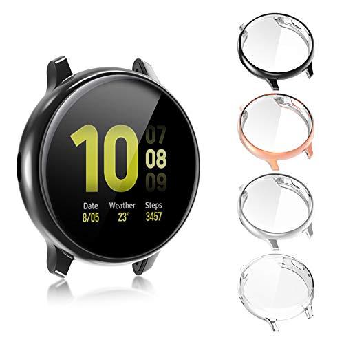 FASTSNAIL Cover per Samsung Galaxy Watch Active 2 44mm [4Pezzi] Custodia Piena Copertura Cover Morbide Pellicola Protecttiva (Trasparente+Nero+Oro Rosa+Argento)