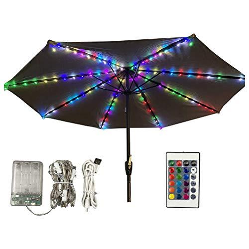 WBTY Terrassenschirm-Lichter, Sonnenschirm-Lichterkette mit Fernbedienung, 104 LED-Lichterkette, Dekoration für Schirme, Campingzelte oder Outdoor-Dekoration.