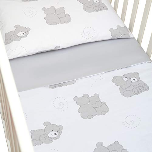 CangooCare Parure de lit 3 pièces pour lit bébé, berceau, linge de lit, 60 x 120 cm, 100% coton, drap housse de couette/housse de couette double face (Ours)