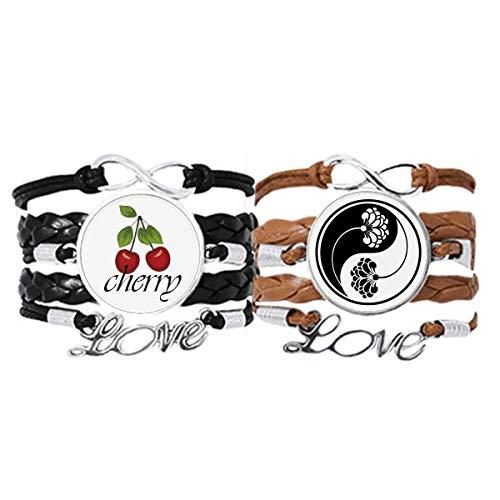 Bestchong Culture Customs Yin-yang - Pulsera de piel con diseño de flores y cuerda de cereza, juego doble