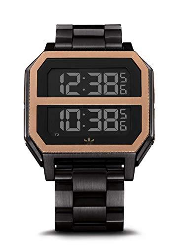 Adidas Archive_MR2 Armbanduhr, Edelstahl, 22 mm Bandbreite, 41 mm Gehäuse, Schwarz Komplett Schwarz/Kupfer