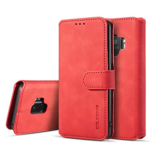 xinyunew Samsung Galaxy S9 Hülle, 360 Grad Handyhülle + Panzerglas Premium Handy Schutzhülle Leder Wallet Tasche Flip Brieftasche Etui Schale (Rot)