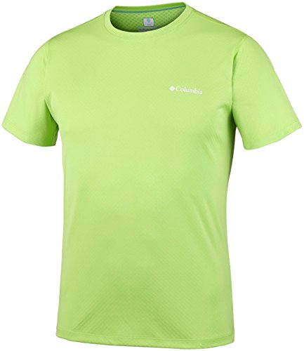 Columbia T-shirt à Manches courtes Homme, ZERO RULES SHORT SLEEVE SHIRT, Polyester, Vert Fluo (Fission), Taille: XS, AM6084