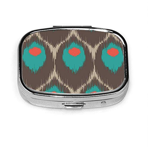 Hi Res Ikat for All and Purposes Shapes Peacock Square Pill Box Decorative Boxes Pill Case Medicine Tablet Holder Wallet Organizer Case for Pocket Or Purse