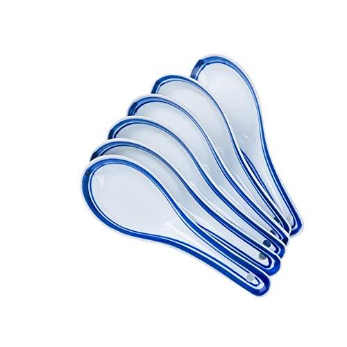 Cucharas Cucharillas Cuchara de color azul pintado a mano Jingdezhen China Retro Cerámica Cuchara de arroz Cuchara práctica Sopa de sopa Medida Cuchara 6pc Cucharas de Postre ( Color : A )