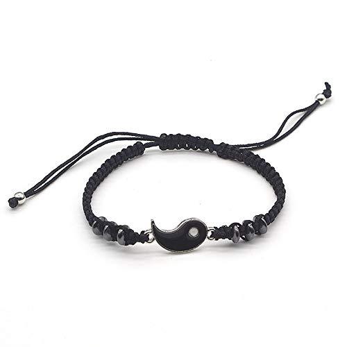 Pulsera para parejas, pulsera de cuero de hematita, pulsera trenzada, con colgante de aleación de Yin Yang Tai Chi de dos piezas, pulsera de regalo para mujer (color de metal: borde plateado negro)
